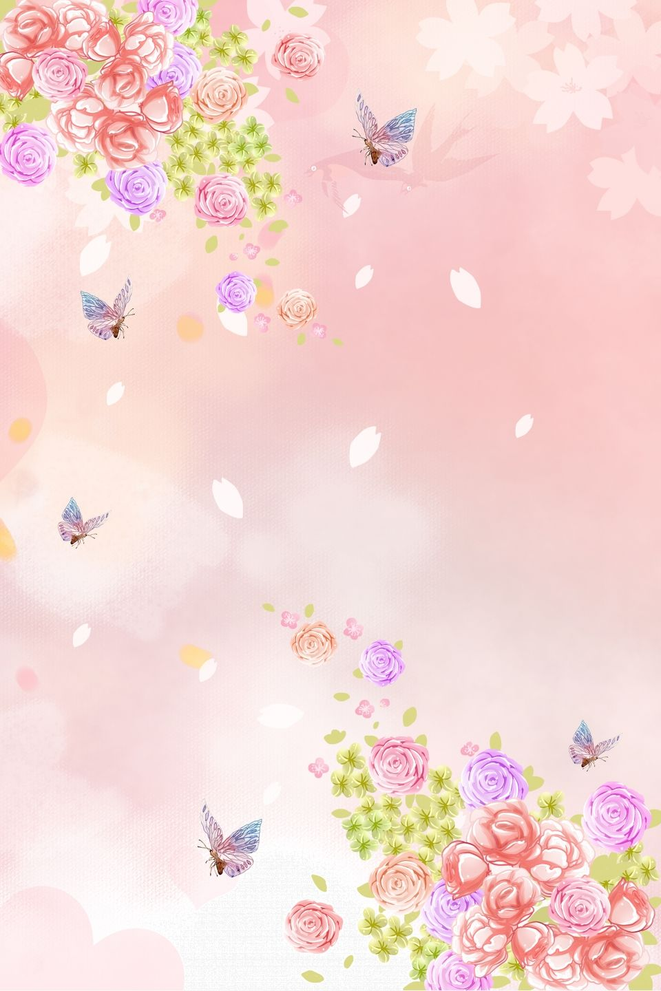 Butterfly Love Flower Poster Background Material Flower Background Images Flower Backgrounds Beautiful Posters
