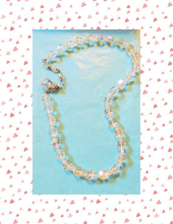 Crystal Vintage Necklace Aurora Borealis Faceted by OodlesofBling