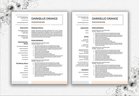 Professional Resume Template One Page Resume and Two Page Resume