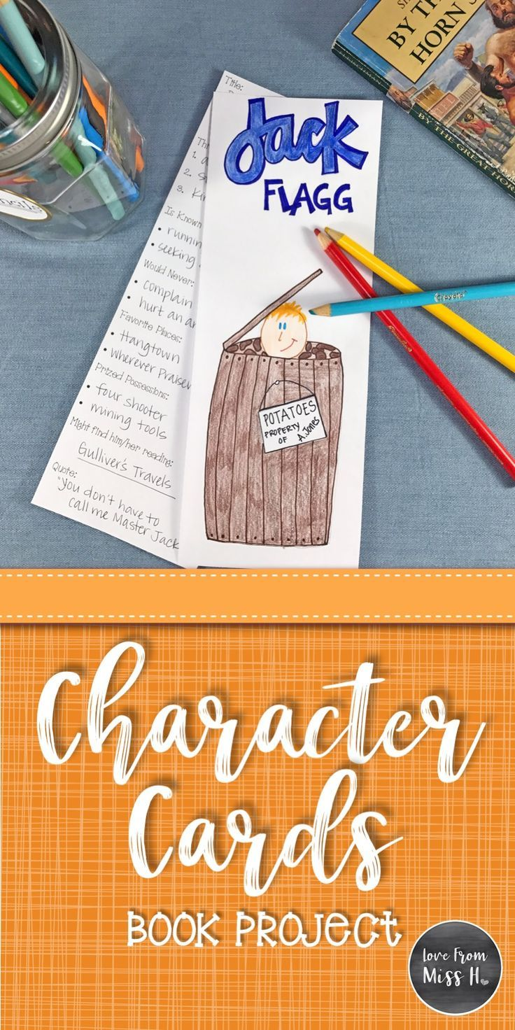 Character Cards Book Project Book Projects Reading Projects