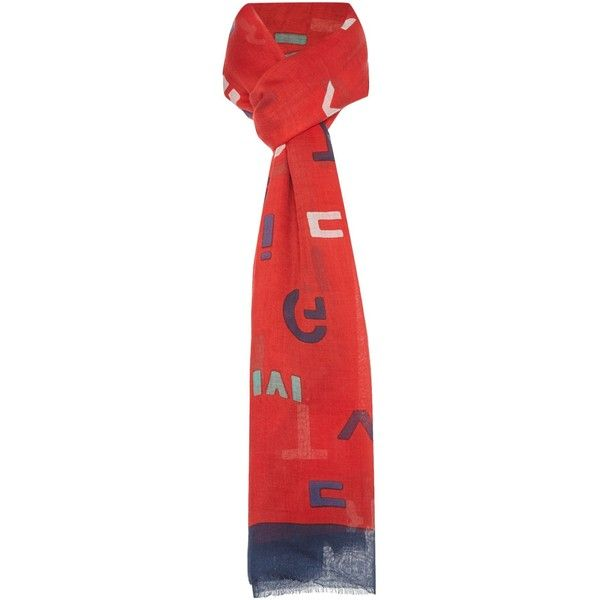 Tommy Hilfiger Mixed text scarf (£35) ❤ liked on Polyvore featuring accessories, scarves, red, cotton shawl, red scarves, tommy hilfiger, red shawl and cotton scarves