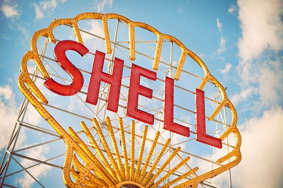 Vintage Shell Gas Station Giant Neon Sign by Retro Roadside Photo