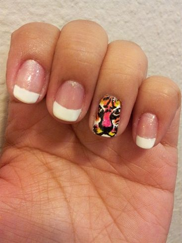 Nails With Animal Print Design Angry Tiger Face Nail Design Cute