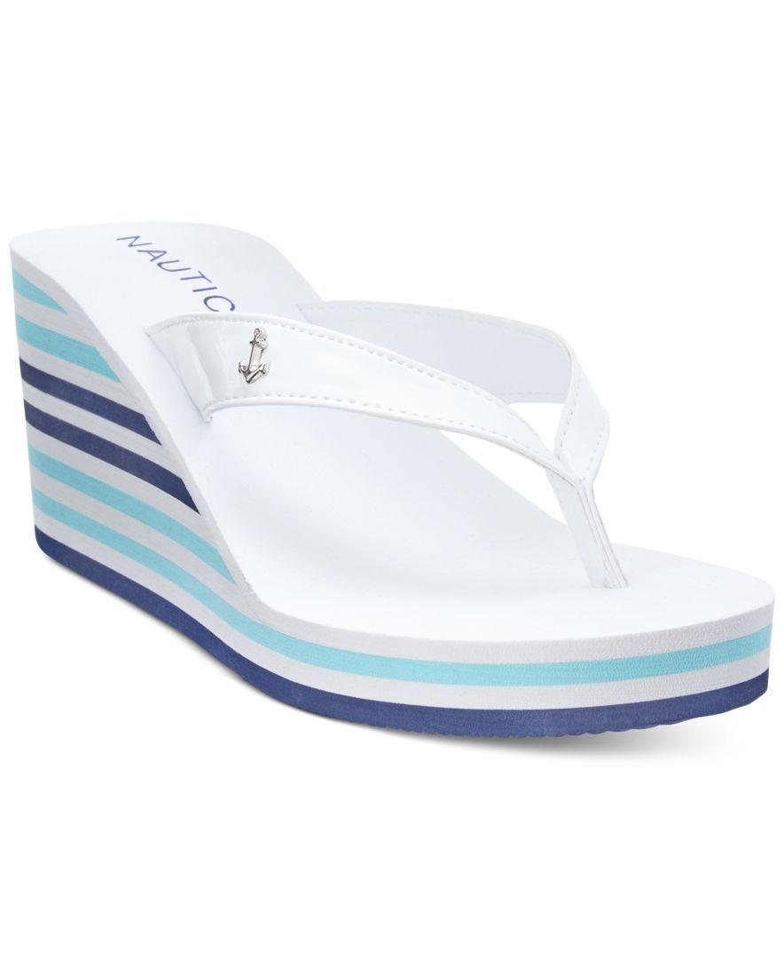 30950980651 Nautica Landfall Platform Wedge Flip-Flop Thong Sandals