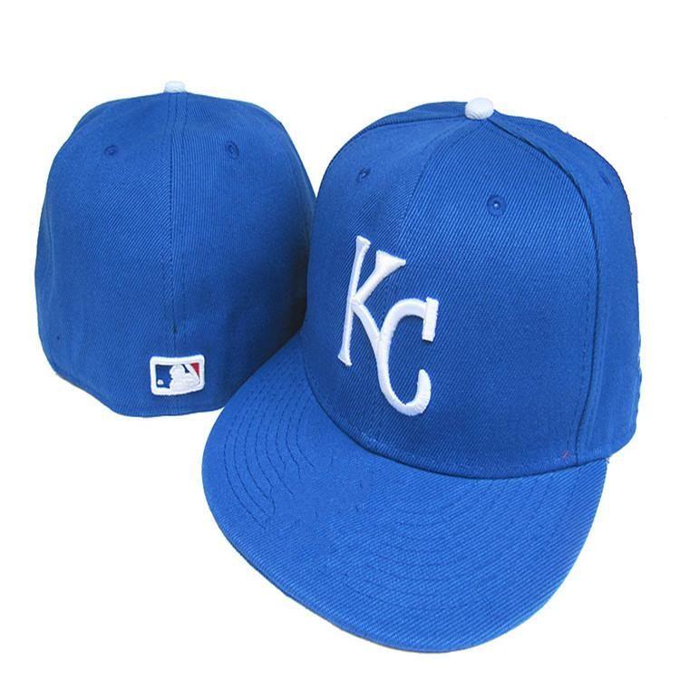 Wholesale Cheap Kansas City  Royals  KC letter  Fitted Hats embroidery  baseball cap flat-brim hat team size baseball cap 6d86119e4908