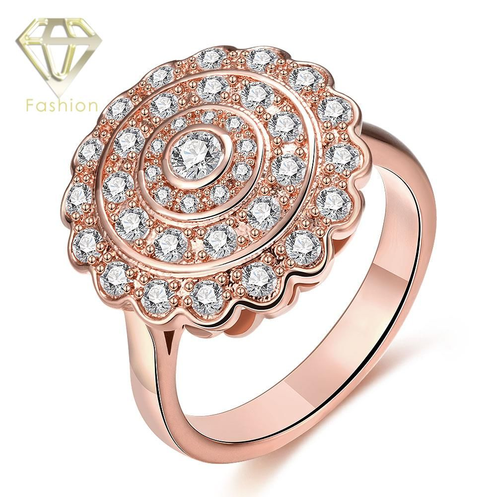 Womens Rings Beautiful Round Sun Shaped with Multi Cubic Zirconia