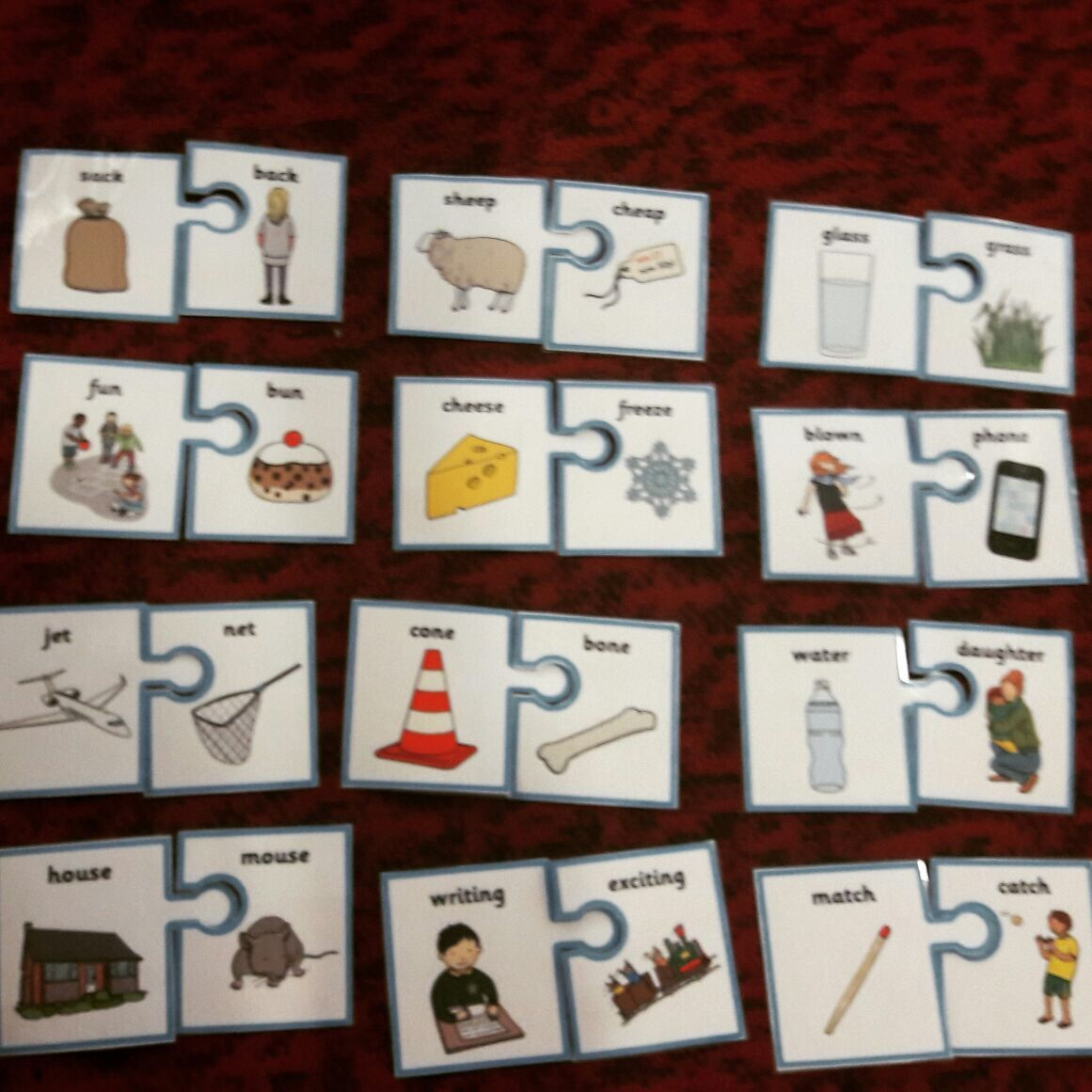 Jigsaw Matching Rhyming Words G1 Esl Hands On Learning