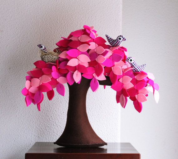 Pink weeping willow with a family of birds Children room by Intres, $69.00