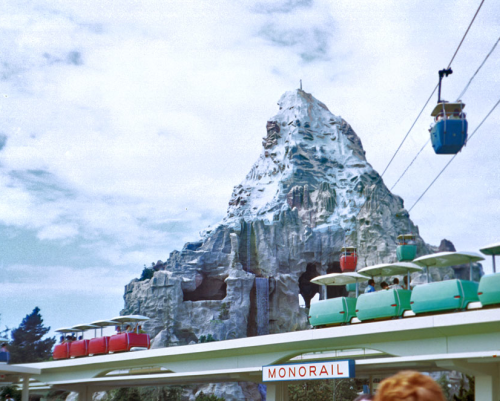 The Disneyland PeopleMover (with the Matterhorn in the background).  September 1967