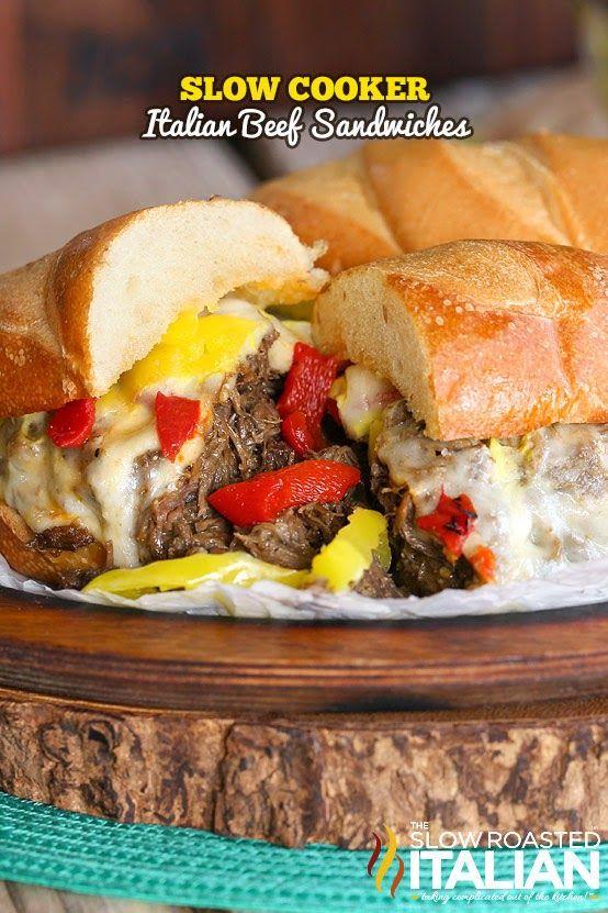 Olla de cocción lenta Beef Sandwiches italianos #TSRISummer #Sandwiches #SlowCooker