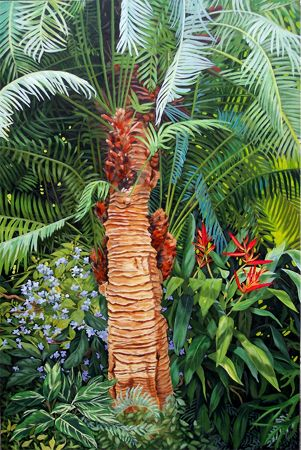 Carol Sims Large Tropical Plant Painting