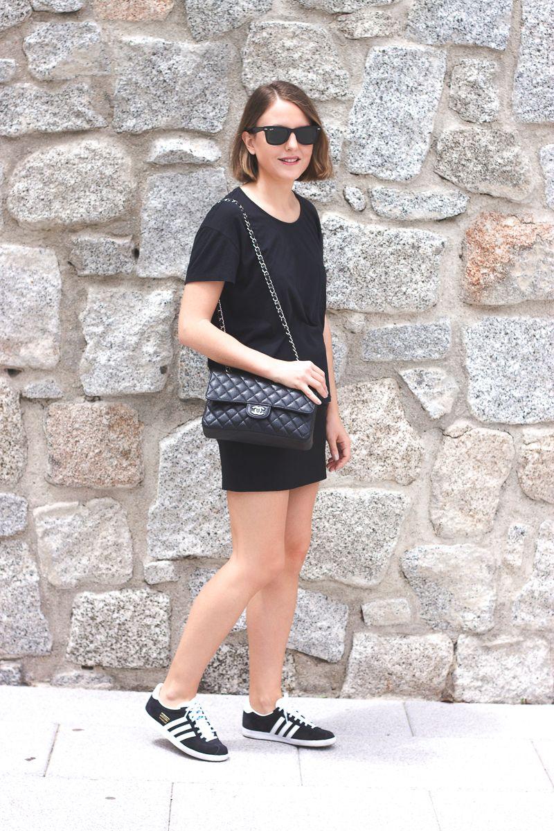 fbd61cb2bea Ray-Ban wayfarer sunglasses, Acne Studios t-shirt, The Kooples skirt,  Adidas Gazelle sneakers via Zalando.es and Chanel bag.