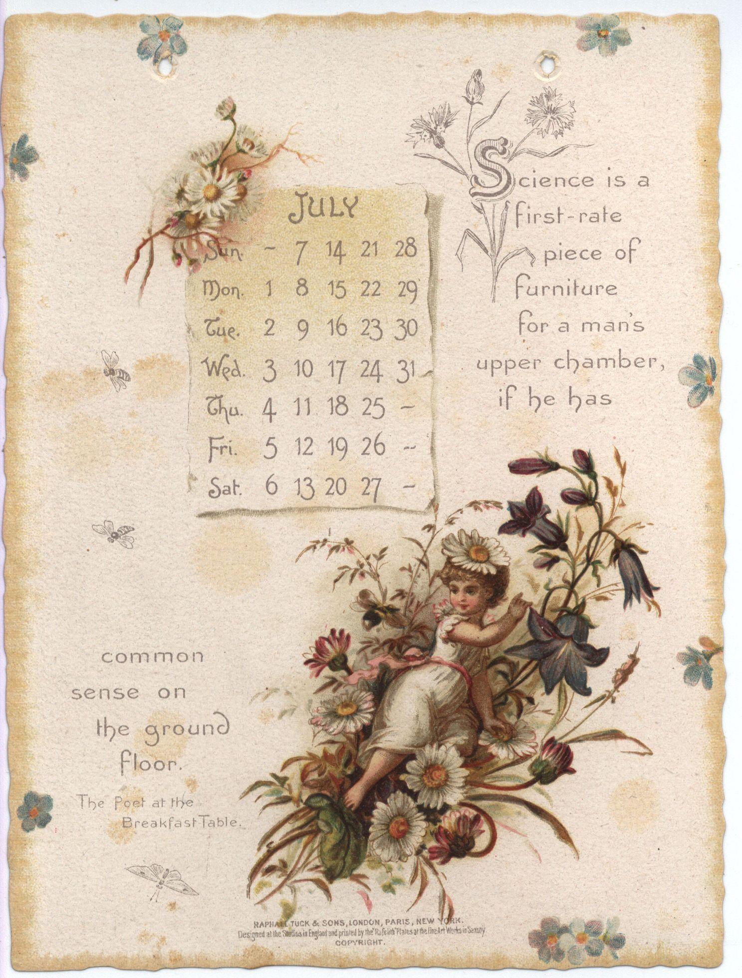 Oliver Wendell Holmes Calendar For 1895 Vintage Calendar Framed