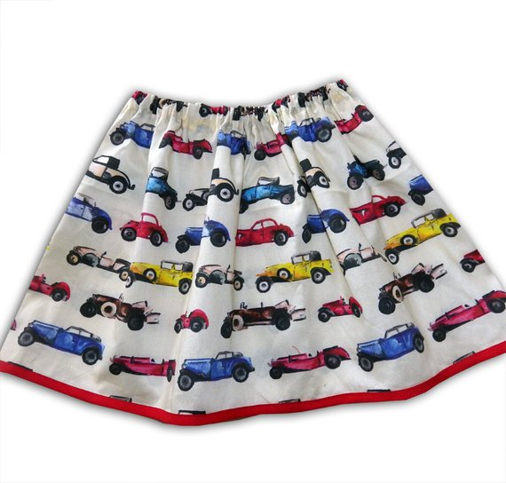 Girl's Car Skirt, Classic Car Skirt, Girls Clothing, Gift for Girls, Toddler Clothing, Skirts for Girls