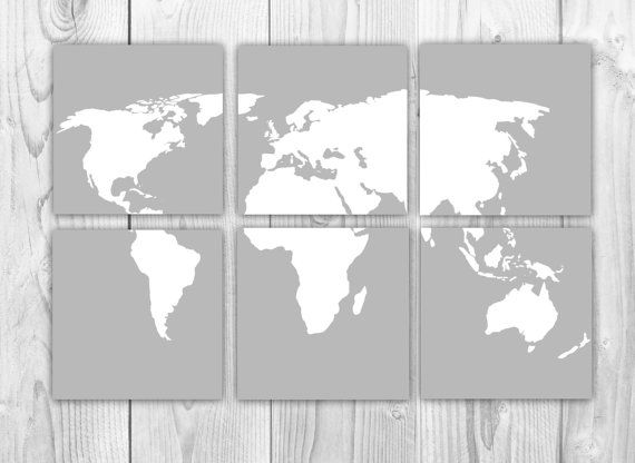 World map 6 panels set of 6 10x10 prints gray and white world items similar to world map 6 panels set of 6 art prints gray and white world map travel nursery square art prints home decor on etsy gumiabroncs Image collections