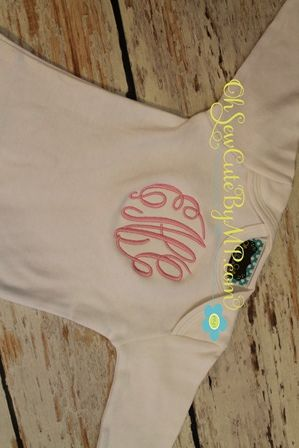 Monogrammed baby gown