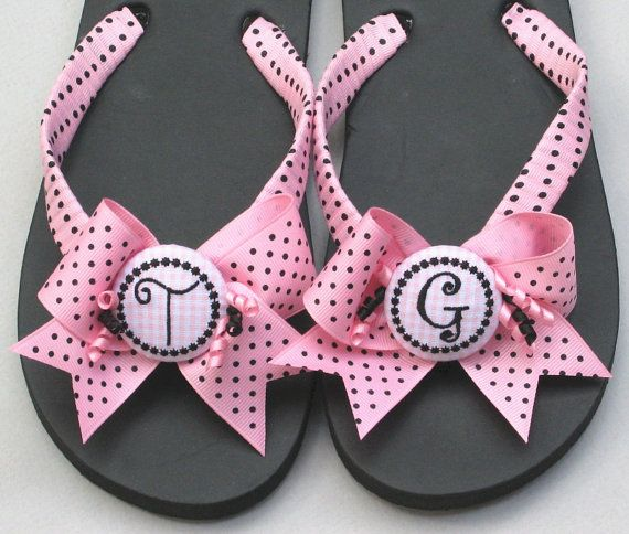 Decorated Flip Flops, Personalized Flip Flops, Monogrammed Flip Flops, Custom, Wrapped, Bow Flip Flops, Polka Dot Flip Flop, Wedge Flip Flop on Etsy, $45.00