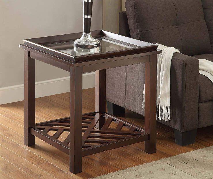 Beveled End Table With Diagonal Slat Bottom At Big Lots End