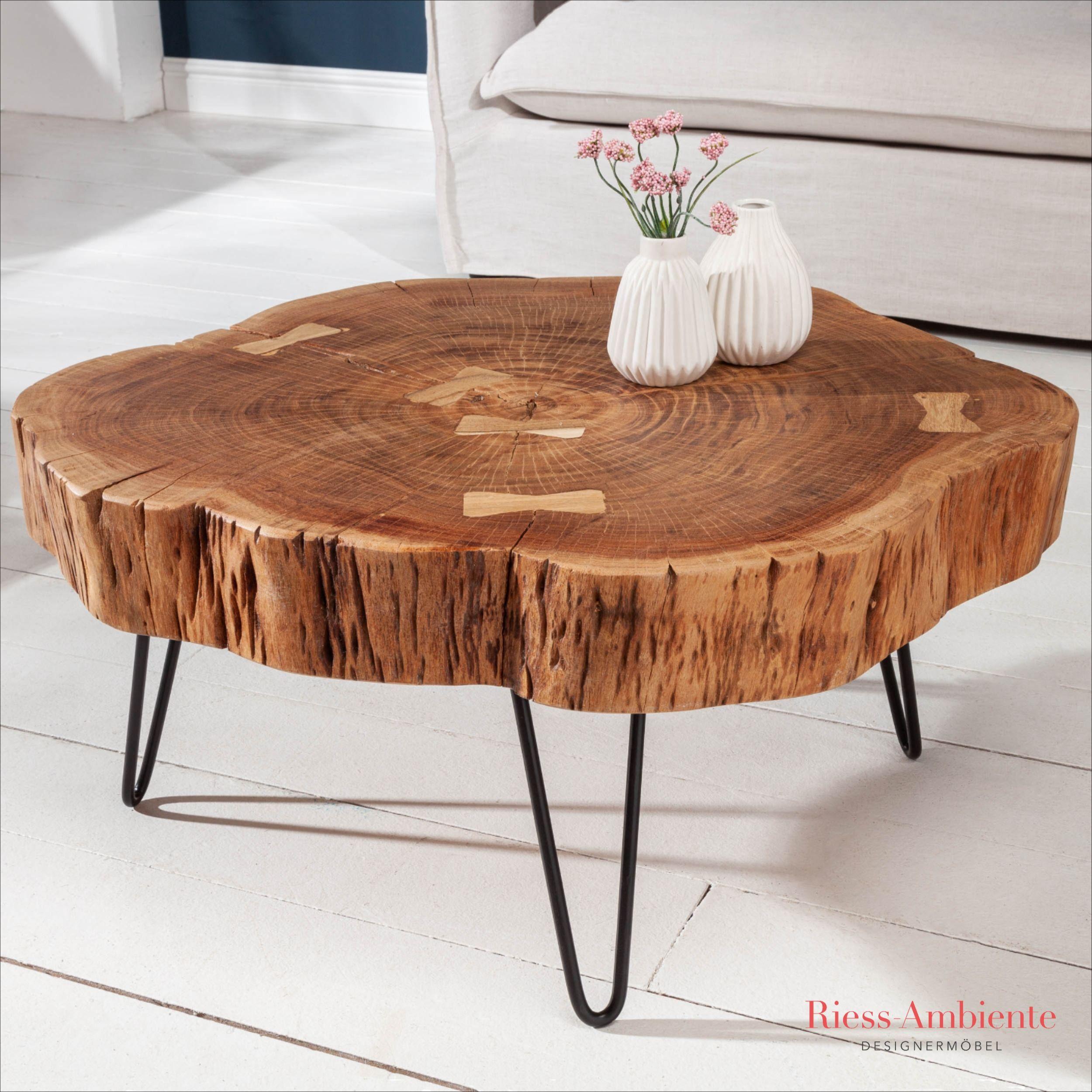 Handgearbeiteter Baumstamm Couchtisch Goa 80cm Akazie Hairping Legs In 2020 Couchtisch Baumstamm Holzscheibe Tisch Couchtisch