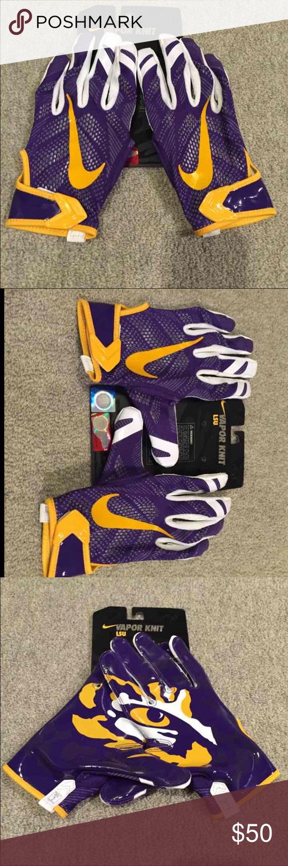 Nike Mens Large Lsu Vapor Knit Gloves Nike Men Lsu Tigers Football Lsu