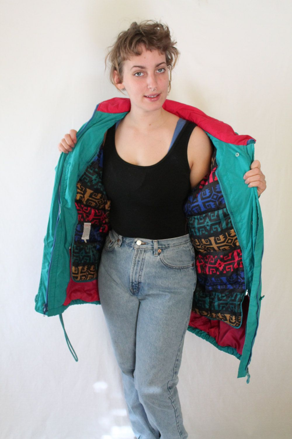 Sweet 90s Teal LONDON FOG Lined Parka // Pink Hood Rad and Colorful IKAT Zip Out Liner // Mac Demarco Soft Grunge by VegaGenesisVintage on Etsy
