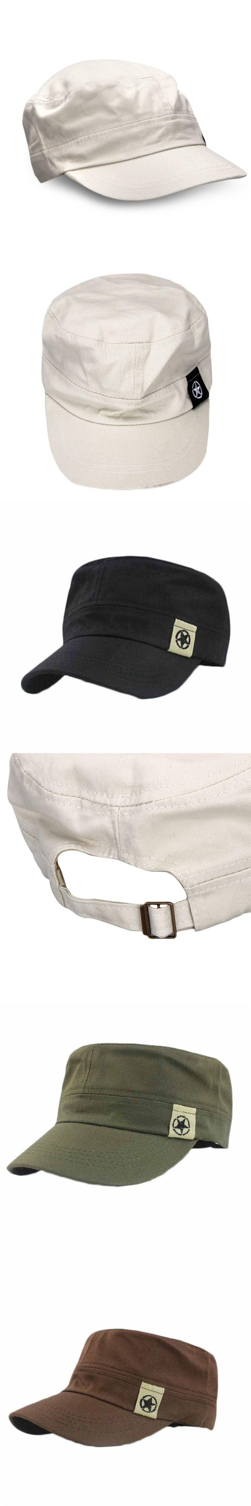 b187b426067 Adjustable Men Women Unisex Flat Roof Military Hat Cadet Patrol Bush  Baseball Field Cap Army hat