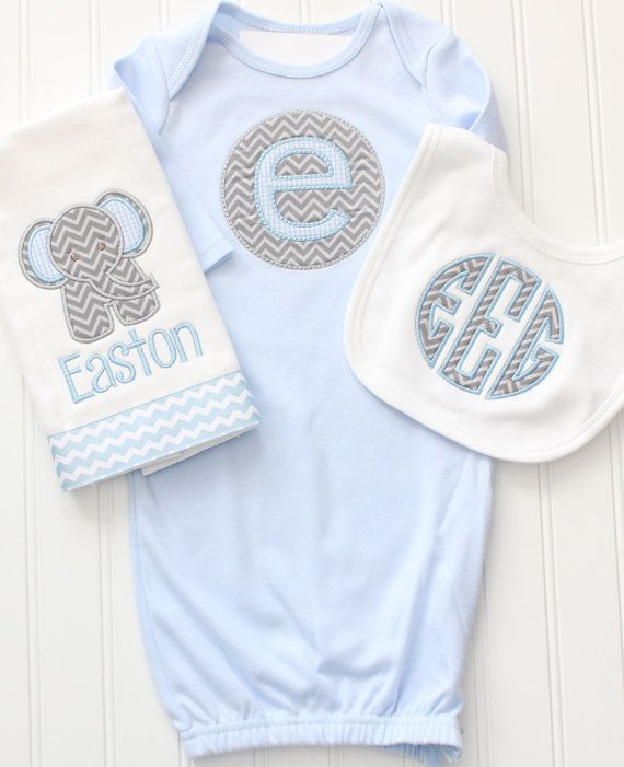 Monogrammed Baby Gown, Monogrammed Elephant Chevron Gown and Burp ...