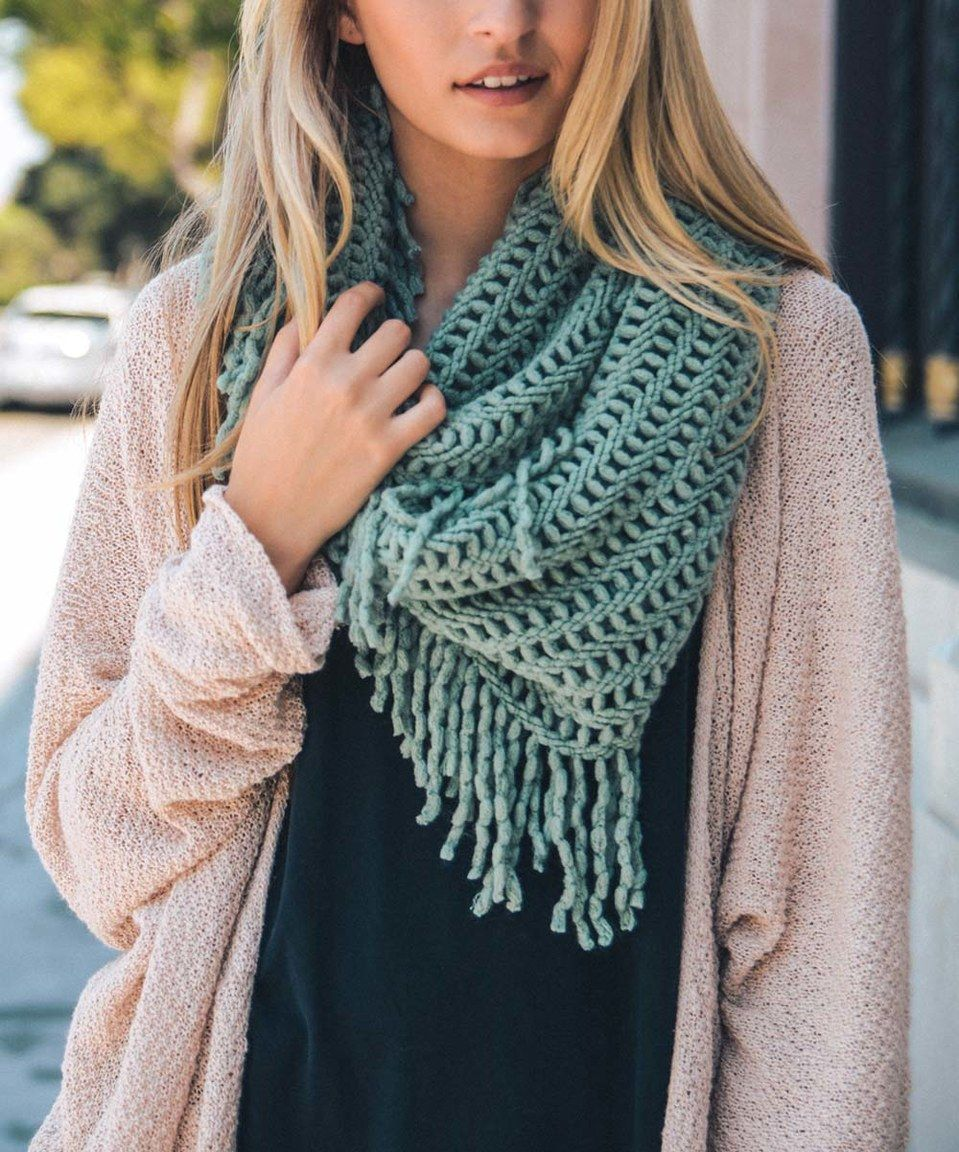 Leto Collection Mint Lattice Fringe Infinity Scarf by Leto
