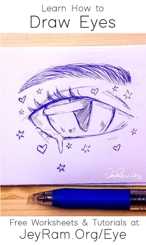 How To Draw Eyes Free Worksheet Tutorial In 2020 Eye Drawing Drawing Tutorials For Kids Pencil Drawings For Beginners