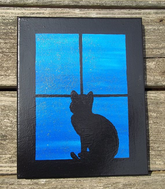 Window Cat Acrylic Painting Hand Painted Wall Art Cat Decor