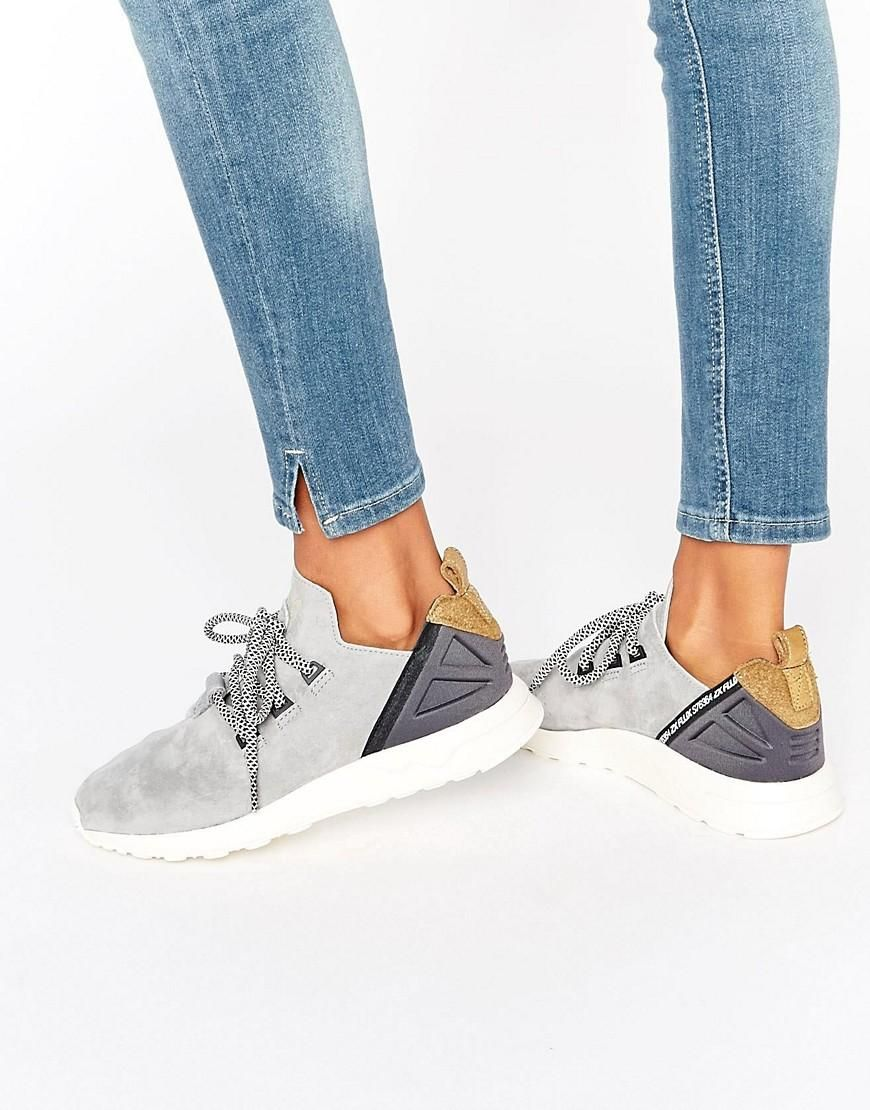 de9b1cc59 Adidas Originals Grey Suede Flux Trainers at ASOS