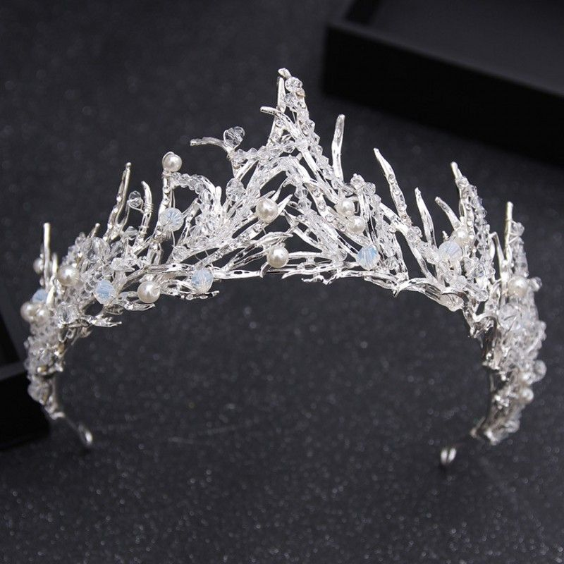 Vintage Crystal Bridal Hair Accessory Wedding Rhinestone Water drop Leaf Crown Headband Hair Jewelry #crownheadband