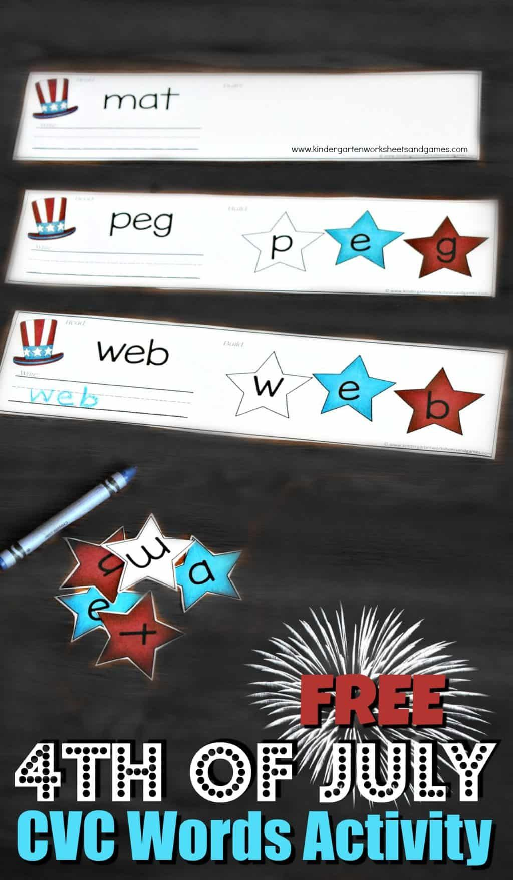 4th Of July Cvc Words Activity