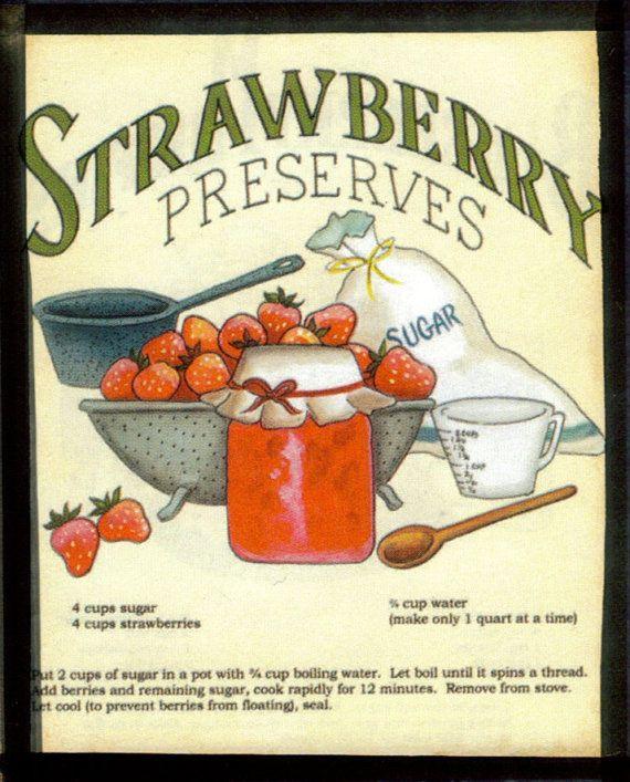 b62383c1a9fa7 Retro Vintage Primitive STRAWBERRY Preserves Sign Country Kitchen ...