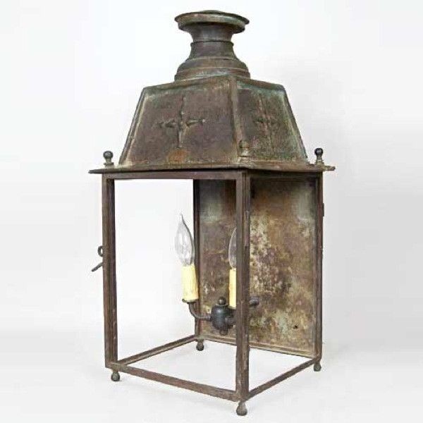 Antique French Copper Outdoor Two Light Wall Lantern