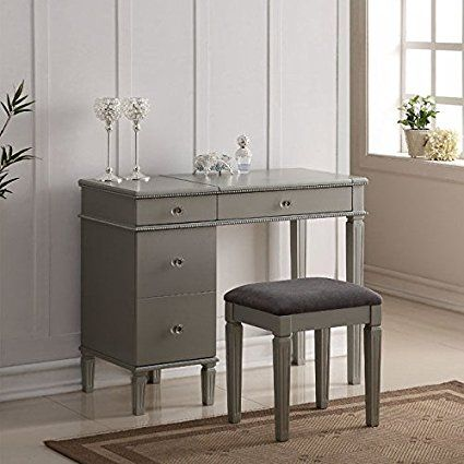 Linon Alexandria Bedroom Vanity Set in Silver Dressing Tables - Bedroom Vanity Table