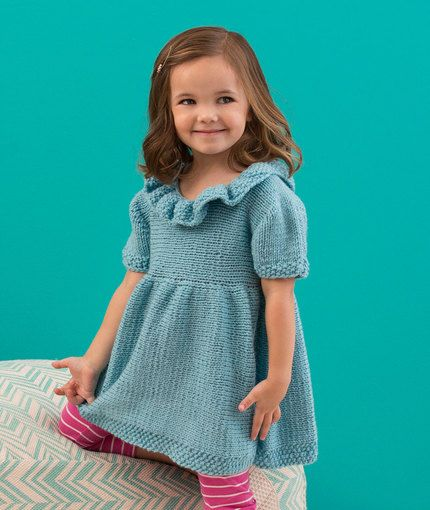 Free knitting pattern for a little girls dress ~ Sweet Sideways Dress: Little girls will love having this comfortable knit dress that can be dressed up or down to fit the occasion. Front and back are knit from side to side. Ruffled seed stitch collar frames her face for the perfect photo op look! Find the free knitted dress pattern here: link