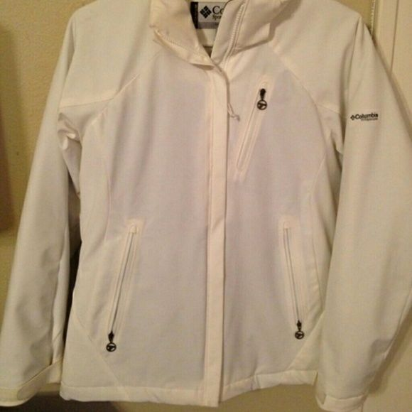 White Columbia coat White winter coat with black fleece lining, like new condition. Missing zip off hood. Columbia Jackets & Coats