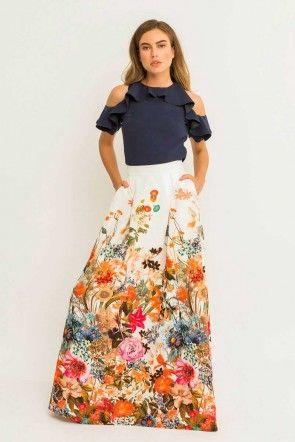 f306926e30 Falda larga fluida blanca estampada ajustada a la cintura para invitada de  boda madrina novias originales eventos de dia bodas de tarde fiesta coctel