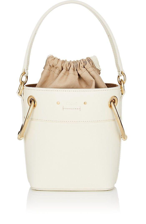Chloe Mini Leather Bucket Bag - White 1 Sz  80351a7317da1