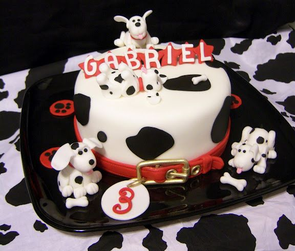 Simple Dalmatians On 1 Tier Cake