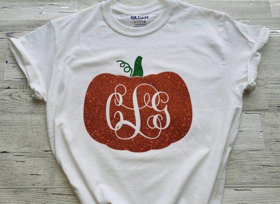 Glitter Pumpkin Monogram T-Shirt - Glitter Monogram Pumpkin - Teacher Fall Halloween Shirt #howtoapplybling