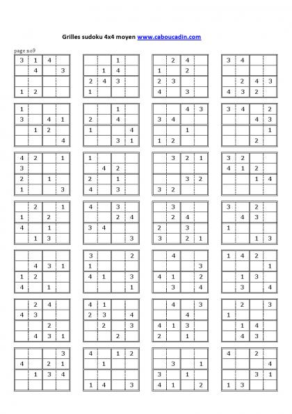 Jeux A Imprimer Gratuit Grilles De Sudoku Enfants Moyens Grilles Sudoku 4x4 Niveau Moyen 9 Sudoku Sudoku Enfant Grille De Sudoku