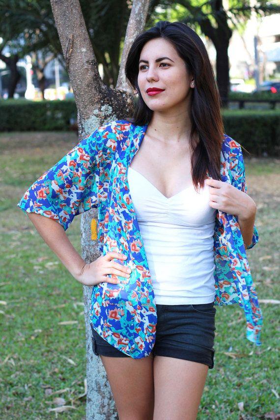 Blue Floral Kimono, Kimono Cardigan, Kimono Jacket, Kimono Robe ...