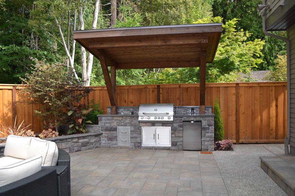Outdoor Barbeque Designs Patio Traditional With Covered Grill Integrated