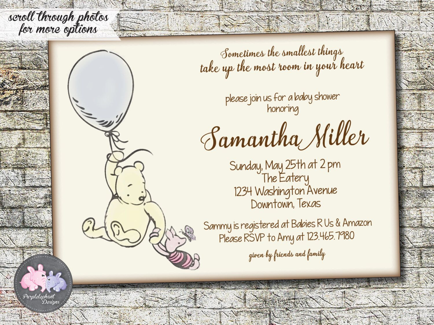 Classic Winnie the Pooh Bear Baby Shower Invitation, Pooh Baby ...