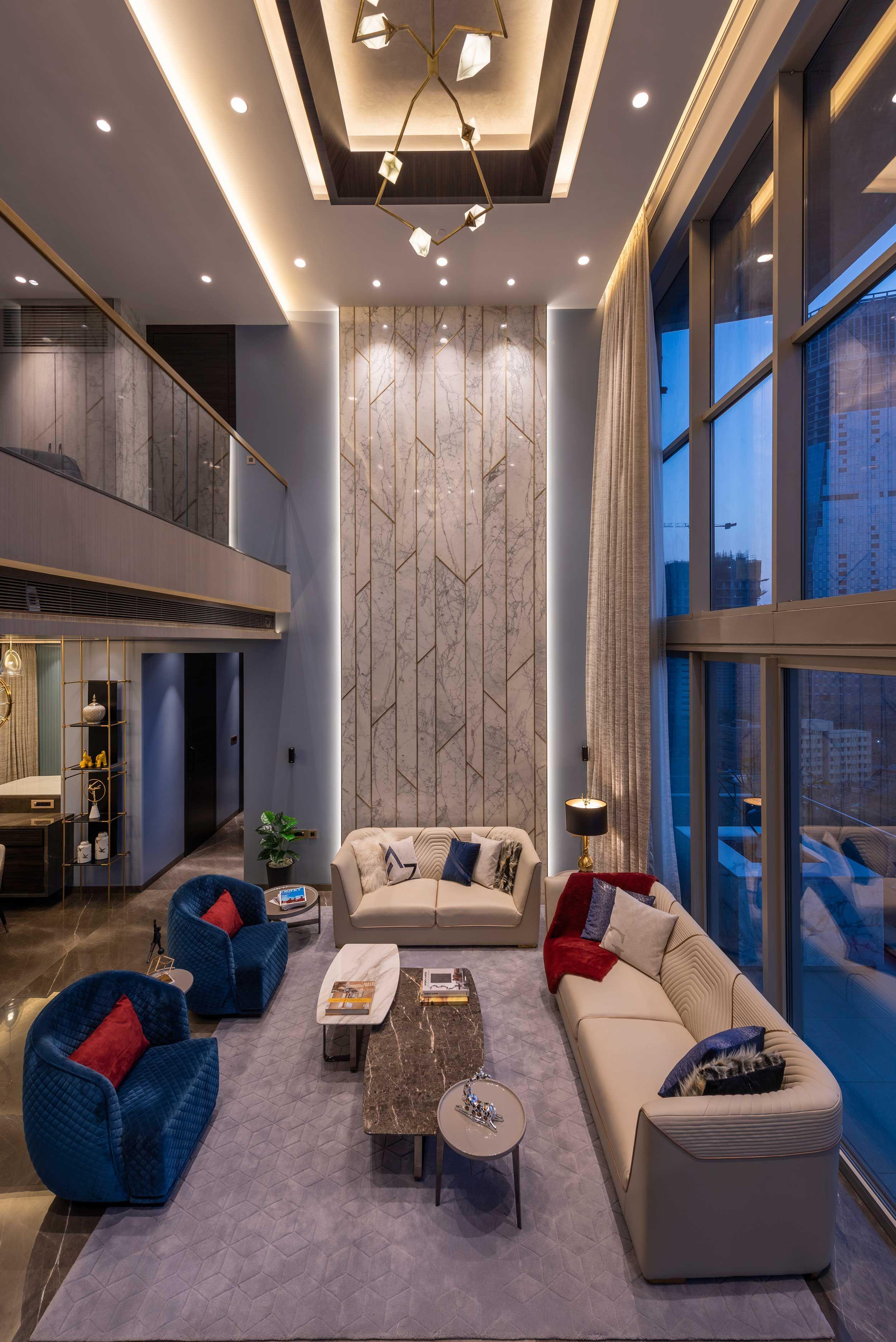 Mumbai Duplex Apartment Ga Design 05 Big Living Room Design Big Living Rooms Double Height Living Room