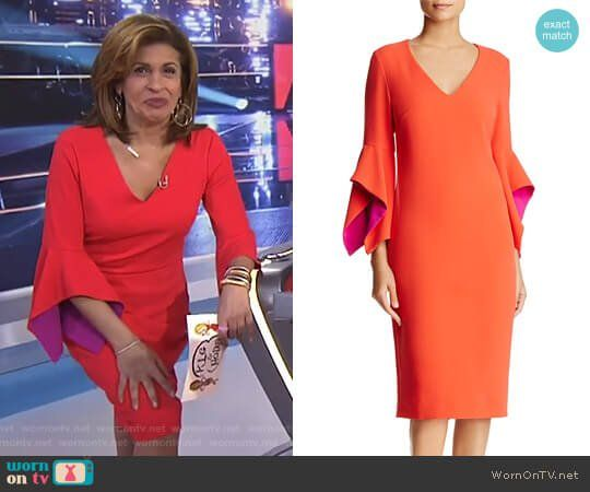 9c89af0e97b Hoda s orange contrast bell sleeve dress on Today. Outfit Details  https