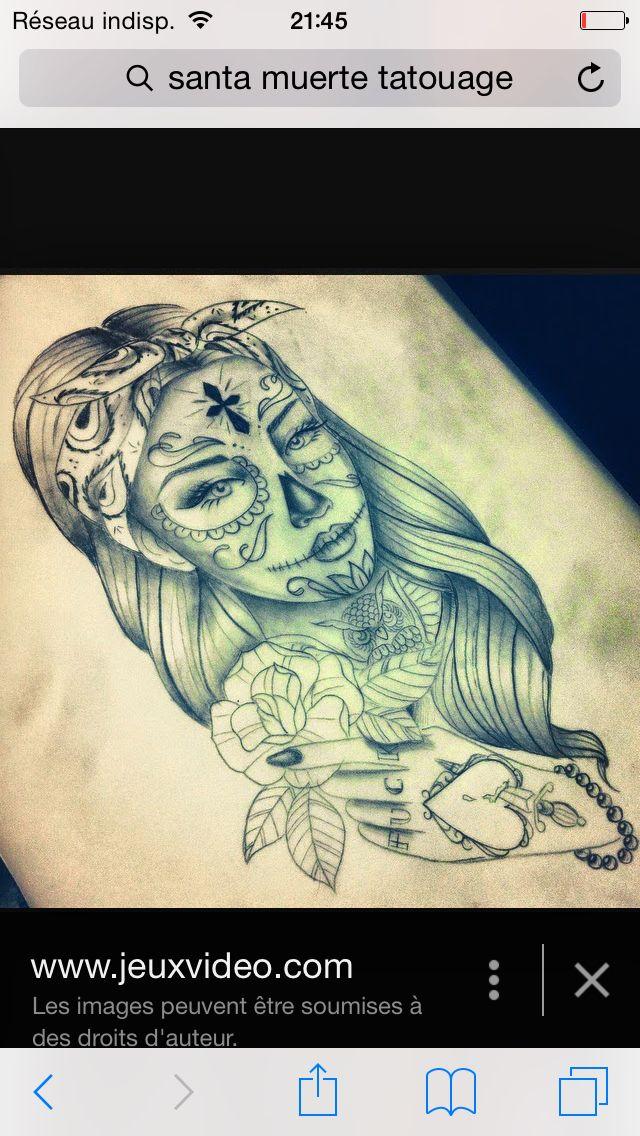 santa muerte rockabilly tattoo ideas pinterest tattoo ideen tattoo vorlagen und la catrina. Black Bedroom Furniture Sets. Home Design Ideas