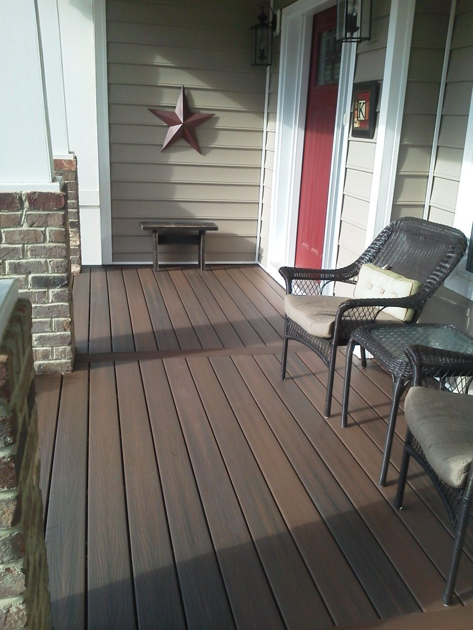 Exterior, : Front Porch Flooring Ideas With Dark Brown Wooden Floor  Integrated With White And Grey Brick Pillars Also Chairs And Table Plus  Some Wall ...